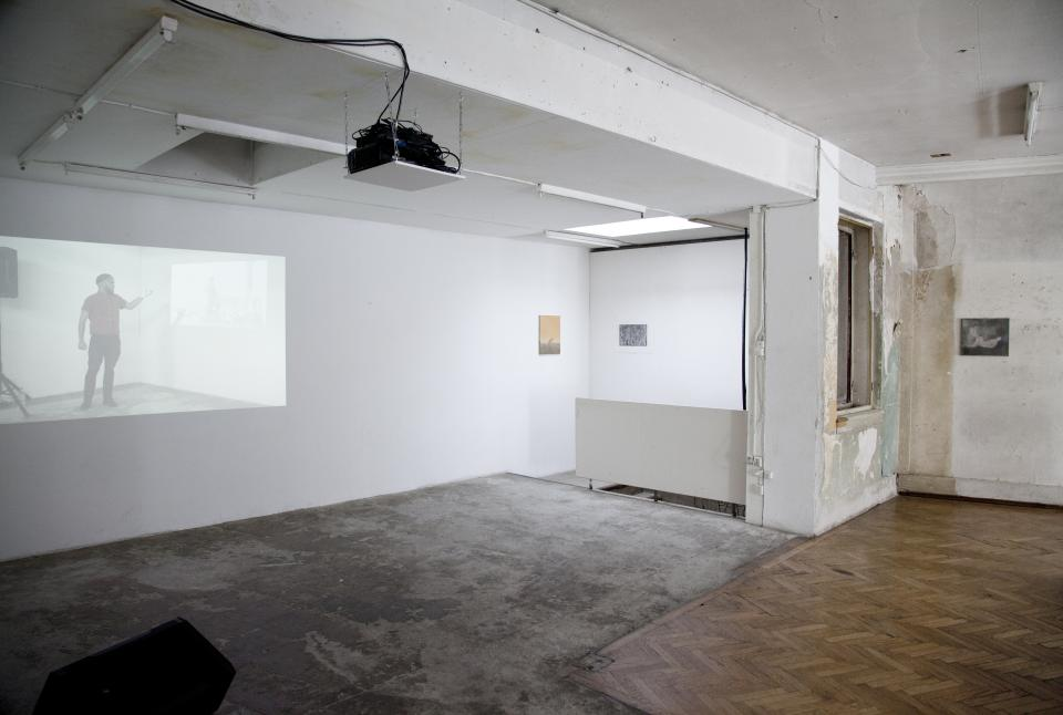 installation view with video projection